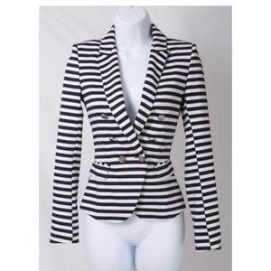 H&M Navy & White Striped Blazer